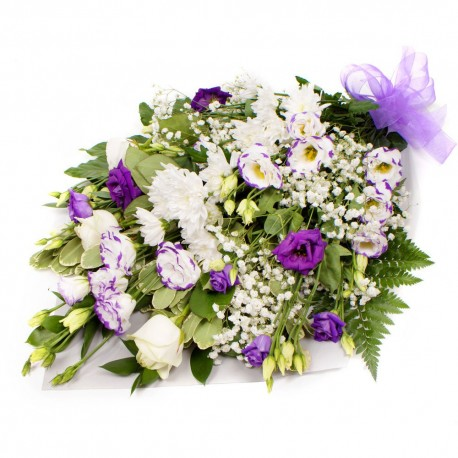 Sympathy Flowers in white and purple SYM-335