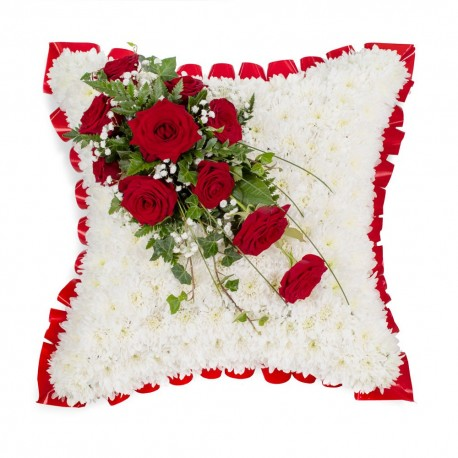 White based cushion with red top spraySYM-333