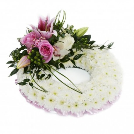 White based Wreath with pink top spray