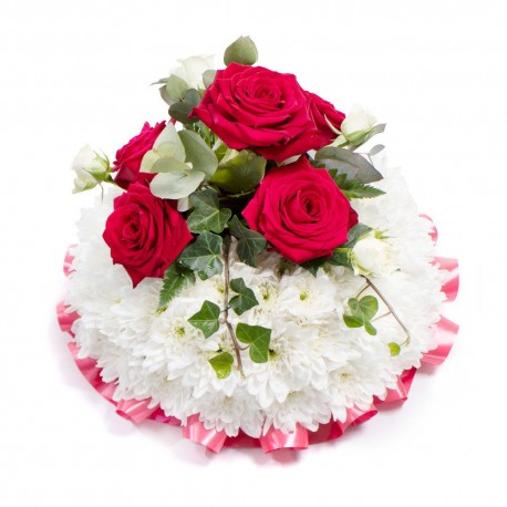 White based Posy with red top spray SYM-344
