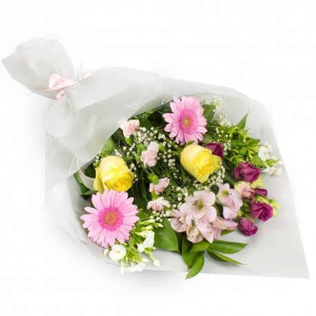 Summer Sunshine gift wrapped bouquet