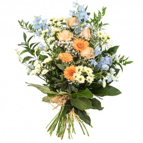 Country Syle Peach and Blue Tied Sheaf SYM-337